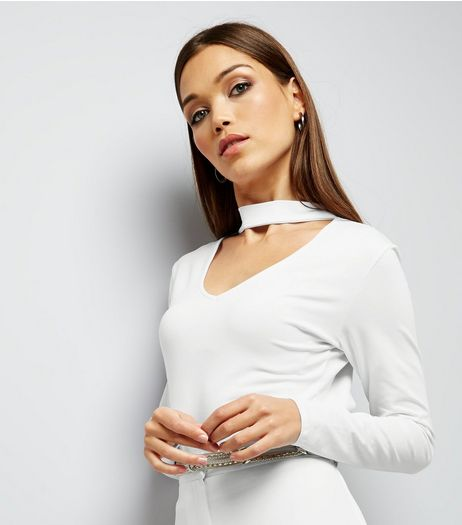 White Choker Neck Cut Out Long Sleeve Crop Top  | New Look