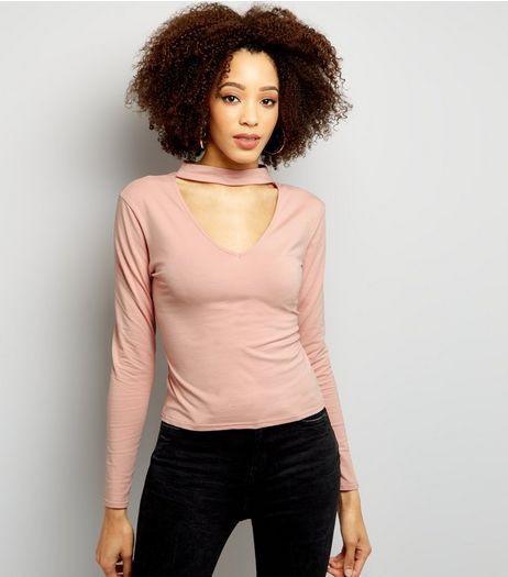 Pink Choker Neck Cut Out Long Sleeve Crop Top  | New Look