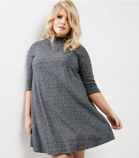 Curves Grey Ribbed Funnel Neck Swing Dress | New Look