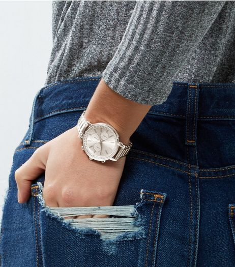 Silver Diamanté Dial Watch | New Look