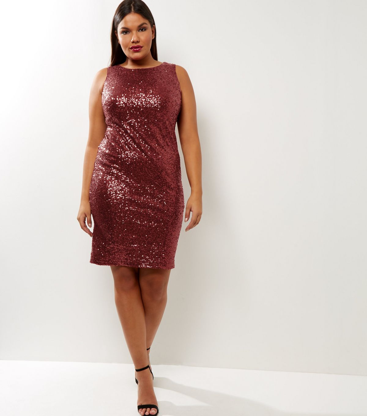 Curves Burgundy Sequin Bodycon Dress | New Look