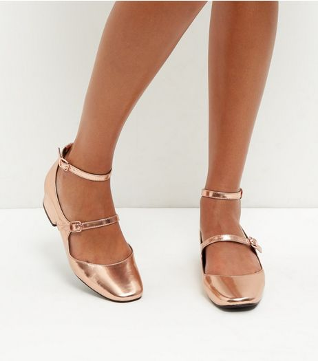 Rose Gold Multi Strap Block Heel Sandals | New Look