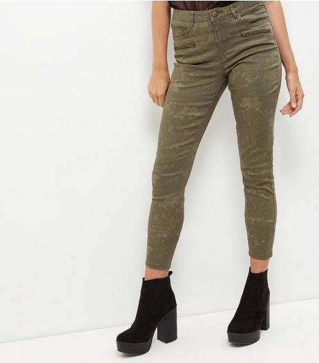 Anita and Green Khaki Camo Print Skinny Jeans | New Look