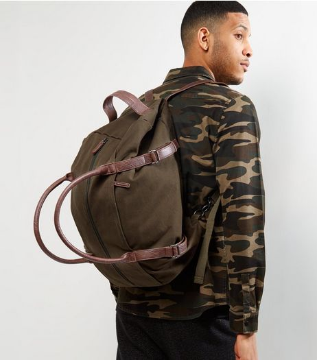 Khaki 2 In 1 Duffle Bag | New Look