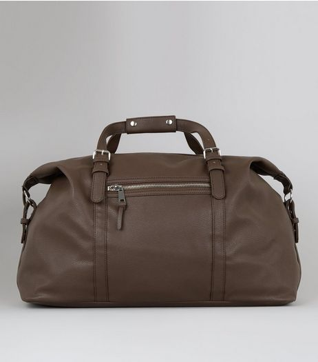 Brown Pebble Grain Holdall | New Look