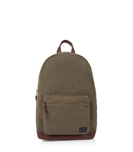 Khaki Leather-Look Panel Backpack  | New Look