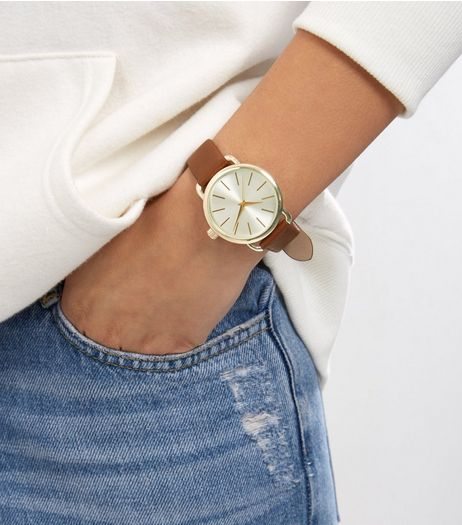 Brown Strap Metallic Face Watch | New Look