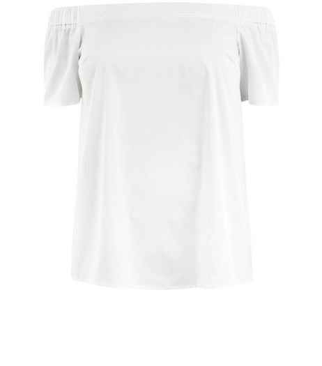 Curves White Bardot Neck Top  | New Look