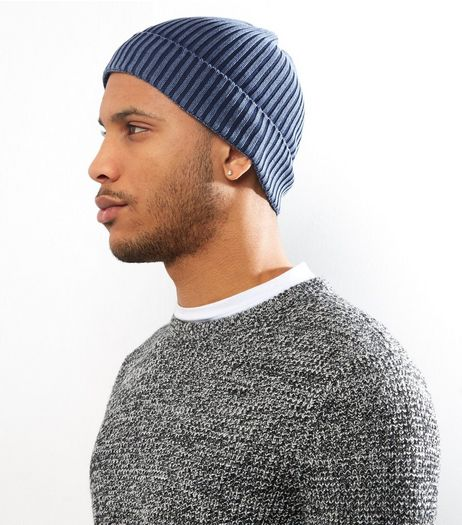 Navy Washed Beanie | New Look