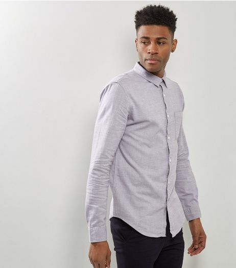 Pale Grey Brushed Cotton Long Sleeve Shirt | New Look