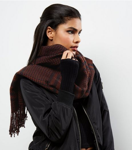 Dark Red Check Print Scarf | New Look