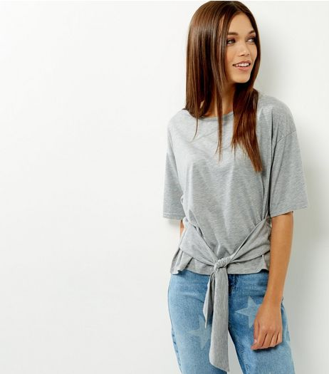 Grey Tie Waist 1/2 Sleeve Top  | New Look