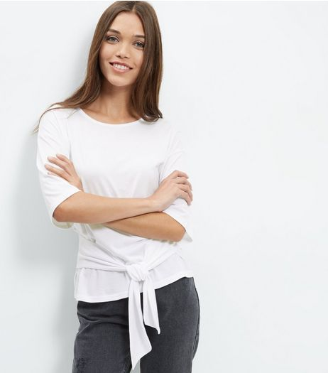 White Tie Waist T-Shirt | New Look