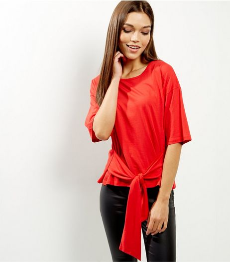 Red Tie Waist 1/2 Sleeve Top  | New Look