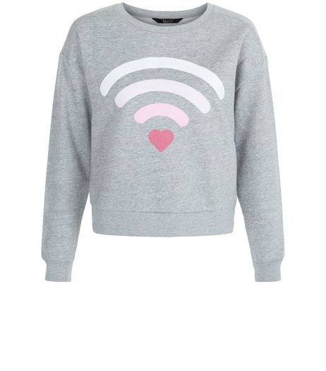 Teens Grey Heart Wifi Sweater  | New Look