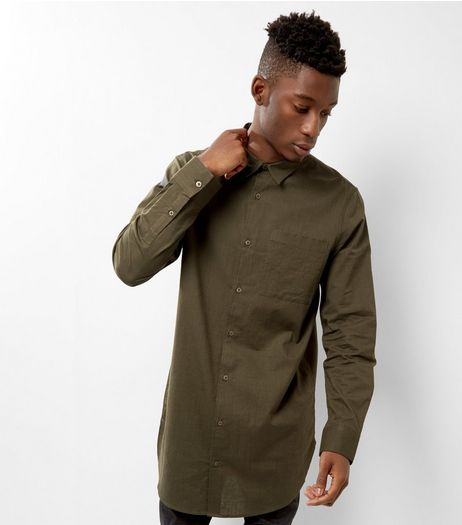 Khaki Long Sleeve Longline Shirt | New Look
