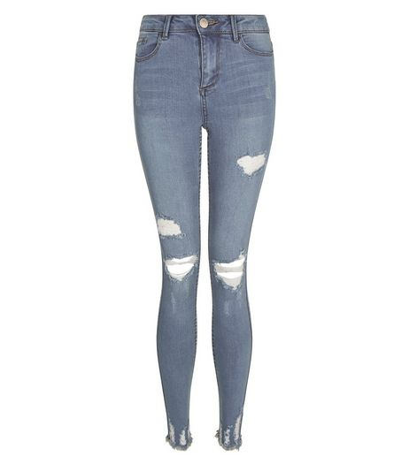 Teens Blue Ripped Fray Hem Skinny Jeans | New Look