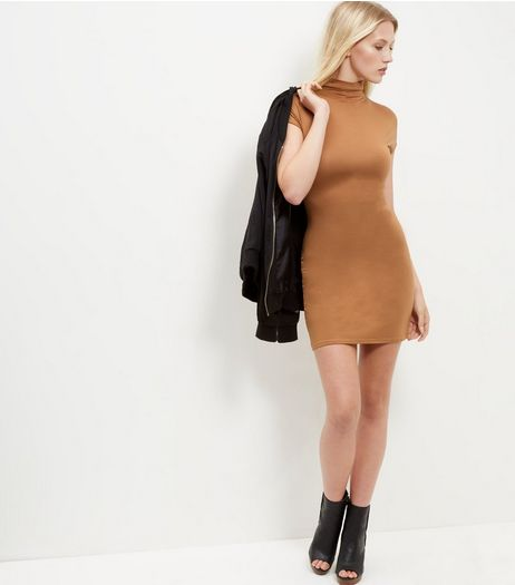 Blue Vanilla Tan Funnel Neck Bodycon Dress | New Look