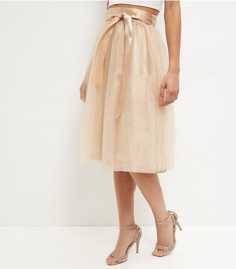 Apricot Stone Mesh Ribbon Tie Skirt  | New Look
