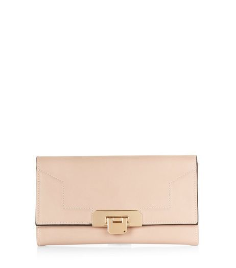 Shell Pink Stitch Trim Foldover Purse  | New Look