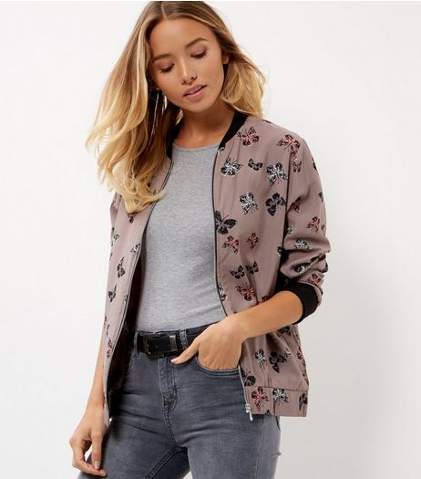 Apricot Stone Butterfly Print Bomber Jacket | New Look
