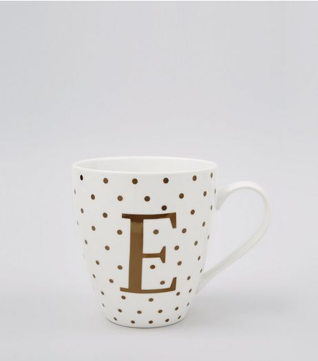 White Initial E Mug | New Look