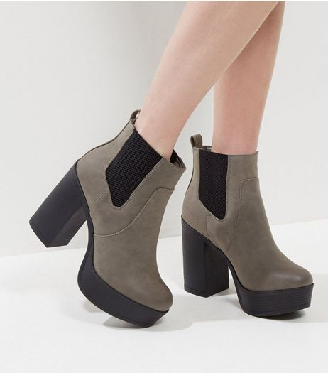 Grey Suedette Contrast Platform Heeled Boots | New Look