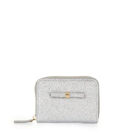 Silver Glitter Mini Bow Zip Around Purse | New Look
