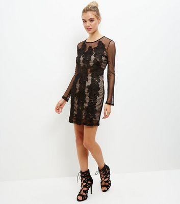 Black Lace Panel Mesh Bodycon Dress