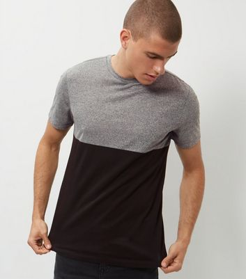 Grey Colour Block T-Shirt