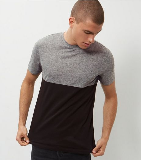 Grey Colour Block T-Shirt  | New Look