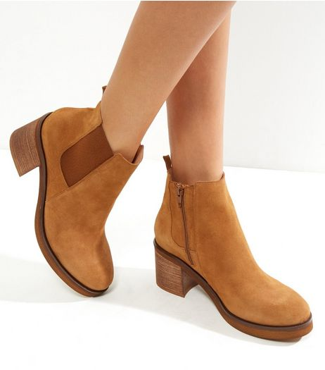 Tan Suede Block Heel Chelsea Boots  | New Look