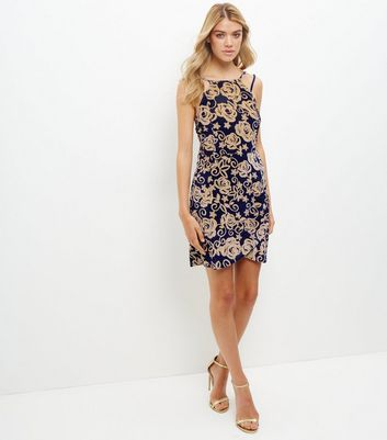 Blue Rose Print Velvet Bodycon Dress