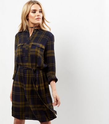 Navy Check Belted Shirt Dress