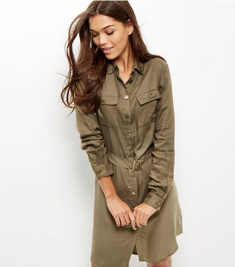 Khaki Button Up Shirt Dress | New Look