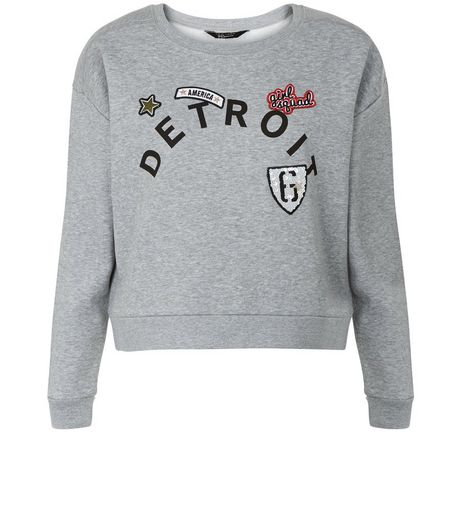 Teens Grey Detroit Print Sweater | New Look