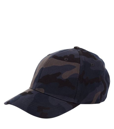 Navy Camo Print Cap | New Look