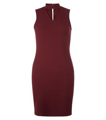 Teens Burgundy Choker Neck Bodycon Dress