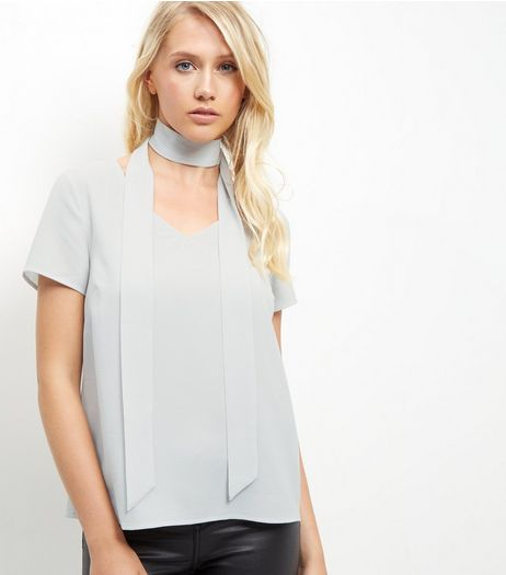 Grey Tie Neck T-Shirt  | New Look