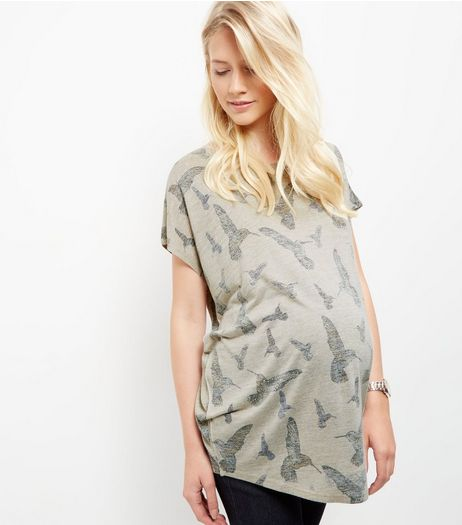 Maternity Cream Bird Print Oversized Top | New Look