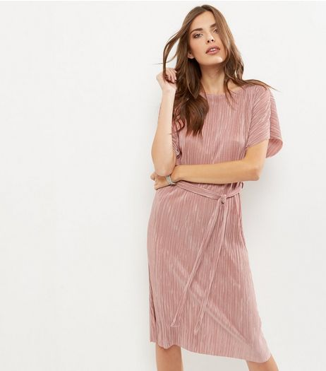 Shell Pink Pleated Tie Waist Midi Dress | New Look