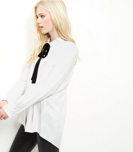 White Twill Tie Neck Blouse | New Look