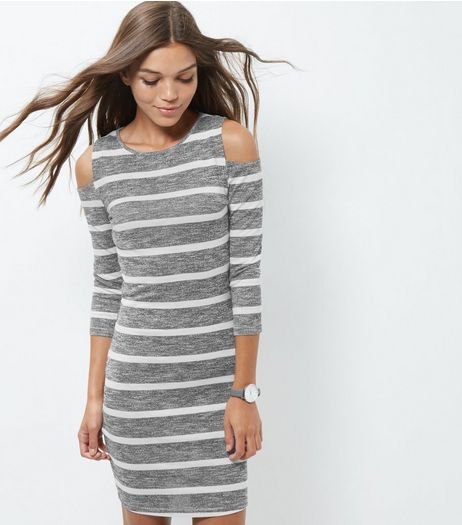 Light Grey Stripe Cold Shoulder Dress  | New Look
