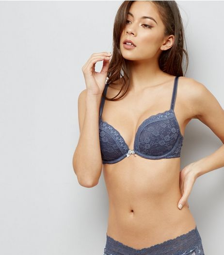 Grey Lace Push Up Bra | New Look