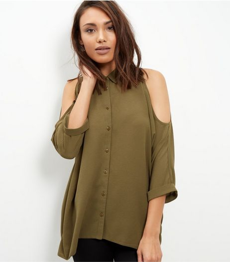 Khaki Textured Cold Shoulder Roll Sleeve Shirt  | New Look