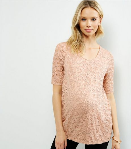 Maternity Shell Pink Lace Panel Short Sleeve T-Shirt  | New Look