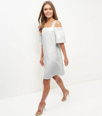 cream-scuba-cold-shoulder-swing-dress