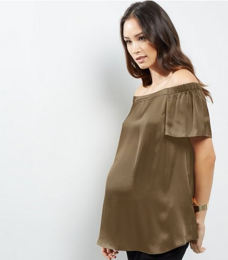 Maternity Khaki Sateen Woven Bardot Neck Top  | New Look