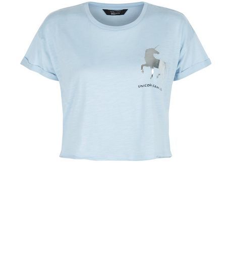 Teens Blue Foil Unicorn Crop Top | New Look