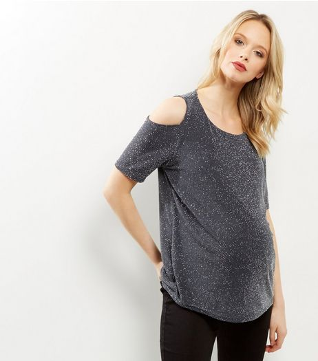 Maternity Grey Metalllic Cold Shoulder Top  | New Look